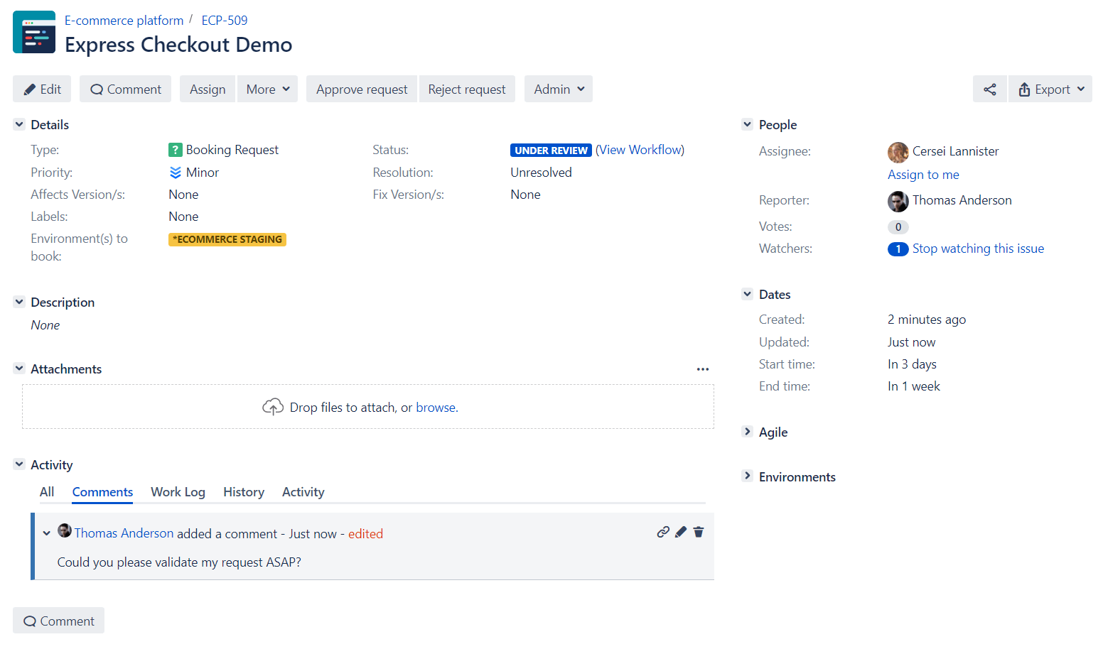 Environment Booking Request Details in jira