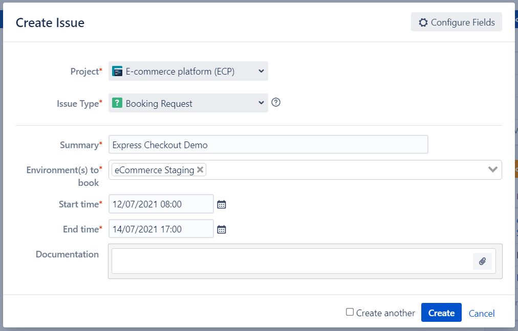 Jira Test Environment Booking Request
